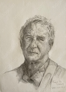 drawing by Bastiaen Vries of Frans pencil on paper