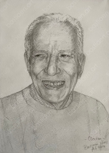 drawing by bastiaen vries of Oberdan old man with a loverly smile
