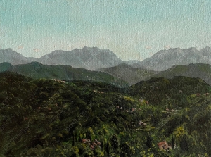 painting of the apuan alps near cinque terre and the carrara marble quarries