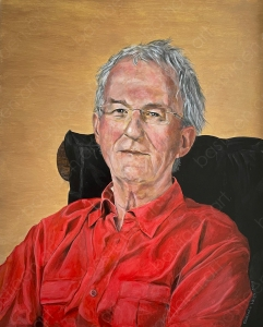painting by Bastiaen Vries of Frans man in chair with red shirt