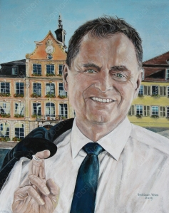 painting of Bastiaen Vries of Richard Arnold Mayor of Schwaebisch Gmuend Baden Wuertemberg in front of the town hall with his room