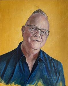 2020 Bas self-portrait, oil on canvas, 40x50cm, Bastiaen Vries painter, Dries van Noten David Bowie