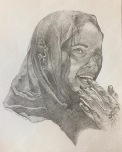 drawing by Bastiaen Vries of Nubian woman 2020