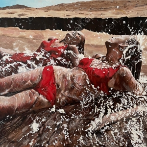 painting with two women on the beach laying on the shore getting wet by splashing water Triumph International advertisement of the seventies