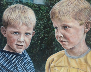 oil painting of Arthur and Mike by Bastiaen Vries