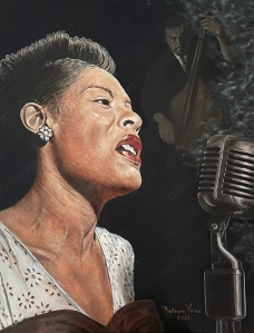 2021 Billie Holiday painting by Bastiaen Vries, oil on canvas, 70x90cm, inspired by William Gottlieb's photo of 1947. Lady sings the blues. Lady Day