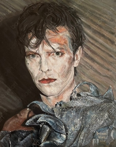 picture of painting by Bastiaen Vries of David Bowie from album Scary Monsters 1980