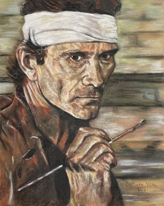 Soft pastel drawing of Pier Paolo Pasolini made by Bastiaen Vries in 2021
